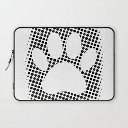 Dog Paw Print With Halftone Background Laptop Sleeve