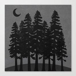 The Moon Over A Dark Dark Forest Canvas Print