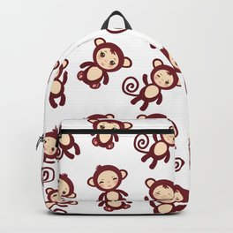 pattern with funny brown monkey boys and girls on white background. Vector illustration Backpack