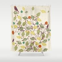 autumn Shower Curtains featuring Autumn by Kakel