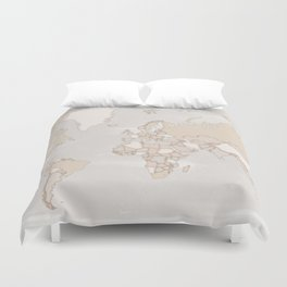 """Rustic world map in grey and brown """"Lucille"""" Duvet Cover"""