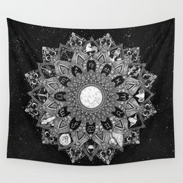 Zodiac Signs Mandala with Starry Background Wall Tapestry