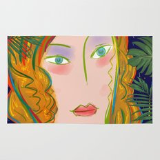Pop Girl Portrait with Flowers and Leaves Decoration Rug