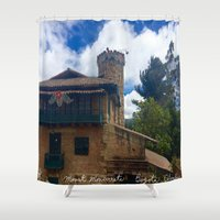 colombia Shower Curtains featuring Mount Monserrate at Christmastime Maybe, Bogota, Colombia by ANoelleJay