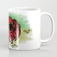cigarette Mugs featuring Cigarette Crab by Victoria Morris