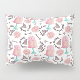Rose pink coral flowers butterfly bohemian deer antlers Pillow Sham
