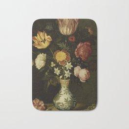 Ambrosius Bosschaert - Still life with flowers in a Wan-Li vase (1619) Bath Mat