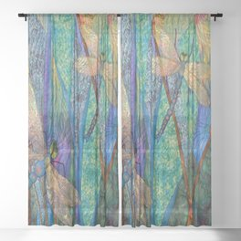 Colorful Dragonflies Sheer Curtain