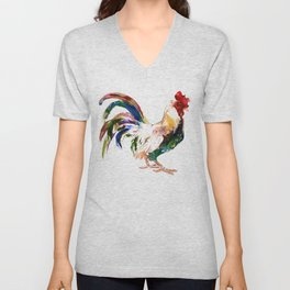 Rooster, Rooster art, Country style design Unisex V-Neck