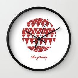 Indian geometry red Wall Clock