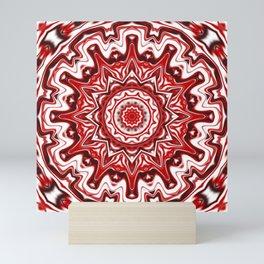 Red and White Kaleidoscope Mini Art Print