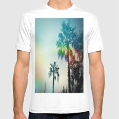 Palm trees of Barcelona White Mens Fitted Tee MEDIUM