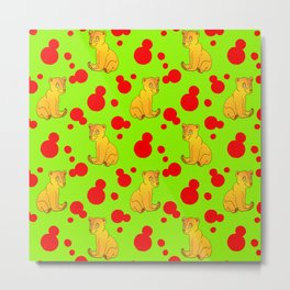 Little bears. Cute adorable funny pink baby bear cubs and bold blue retro dots green pattern Metal Print