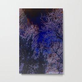 Psychadelic trees frame the moon Metal Print
