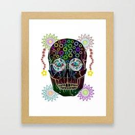 skull neon flowers Framed Art Print