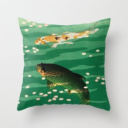 Vintage Japanese Woodblock Print Asian Art Koi Pond Fish Turquoise Green Water Cherry Blossom Throw Pillow