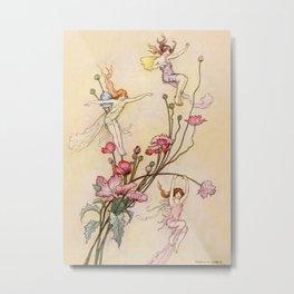 """Three Spirits Mad With Joy"" Art by Warwick Goble Metal Print"