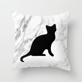 Marble black cat Throw Pillow