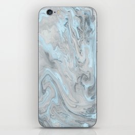 Ice Blue and Gray Marble iPhone Skin