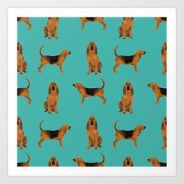Bloodhound dog breed pet pattern hounds dog portrait bloodhounds gifts Art Print