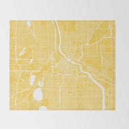 Minneapolis map yellow Throw Blanket