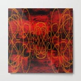 Grunge Lines in Red Metal Print
