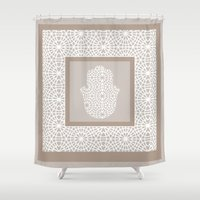 islam Shower Curtains featuring Hamsa in morrocan pattern by Heaven7