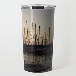 Yacht anchored at sunset Travel Mug