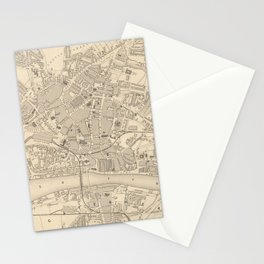 Vintage Map of Newcastle England (1851) Stationery Cards