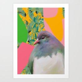 Kereru with Plants on Pink Art Print