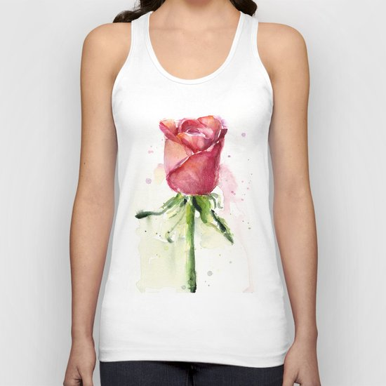 Rose Watercolor Red Flower Painting Floral Flowers Unisex Tank Top