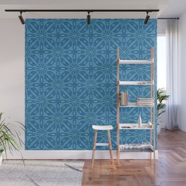 Blue Faux Leather Texture Geometric Pattern Wall Mural
