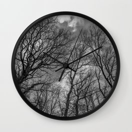 Cloudy day in the woods, black and white Wall Clock