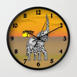 Trumpeting Elephant Knot Wall Clock