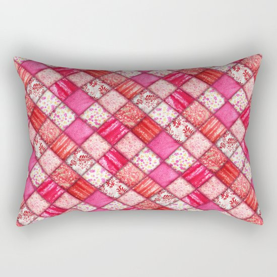Faux Patchwork Quilting - Pink and Red Rectangular Pillow