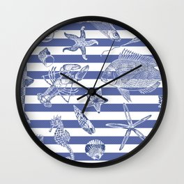Sea things, blue striped design Wall Clock