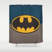 bat man Shower Curtains featuring Bat-Man by The Retro Inc