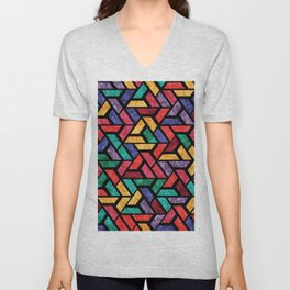 Seamless Colorful Geometric Pattern IX Unisex V-Neck