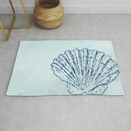 Navy Watercolor Shell Rug