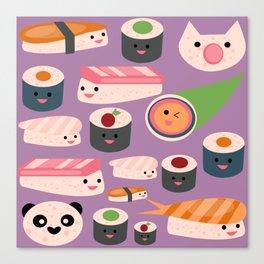 Kawaii sushi purple Canvas Print