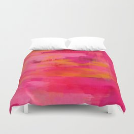 """Abstract brushstrokes in pastel pinks and oranges decorative pattern"" Duvet Cover"