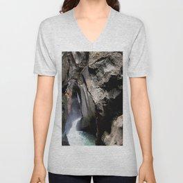 The 200-foot Rock Crevasse of Box Canyon Falls Unisex V-Neck