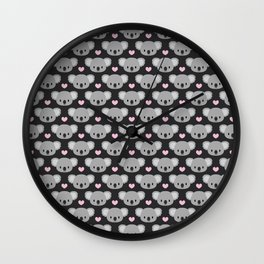 Cute koalas and pink hearts Wall Clock