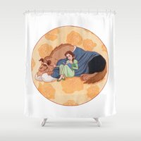beauty and the beast Shower Curtains featuring Beauty and the Beast by Naineuh