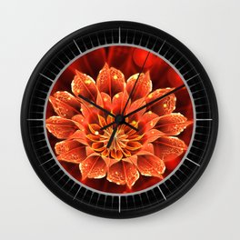 Red Dahlia Fractal Flower with Beautiful Bokeh (Vivid Crimson) Wall Clock
