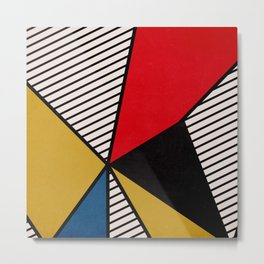 Primary Colors and Stripes Metal Print