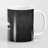 palestine Mugs featuring Flag of Palestine on a Chaotic Splatter Skull by Jeff Bartels