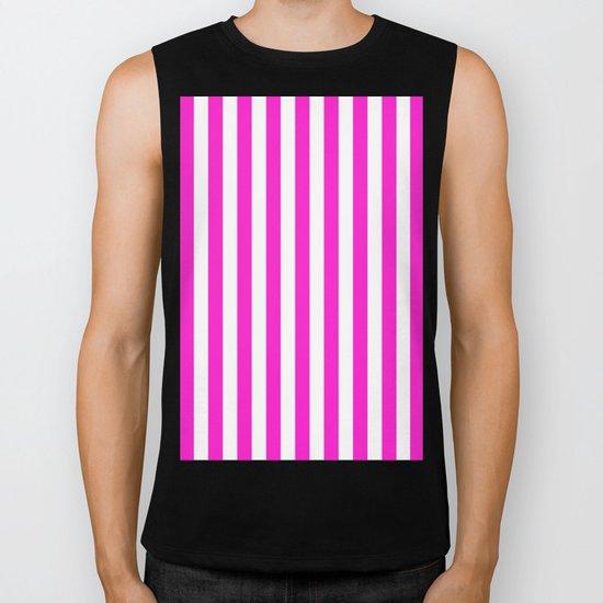 Vertical Stripes (Hot Magenta/White) Biker Tank