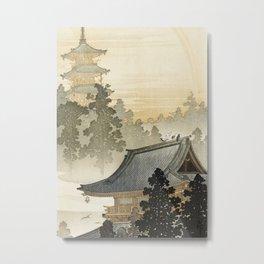 Japanese Pagoda and Rainbow - Vintage Japanese Woodblock Print Metal Print
