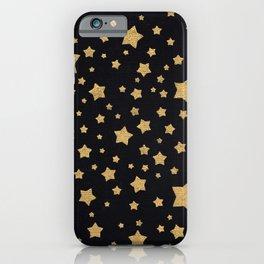Gold Stars on Black iPhone Case